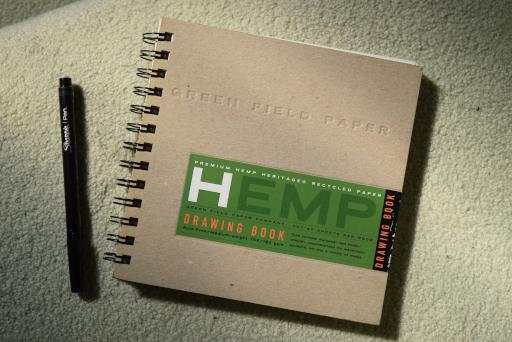 Hemp paper drawing pad and pen